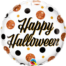 Happy Halloween Sparkly Dots Foil Helium Balloon